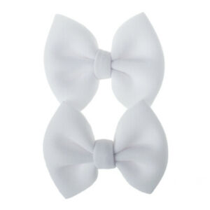 2Pcs Kids Girls Baby Bow Barrettes Sweet Hair Clips Solid Hairpins Accessories