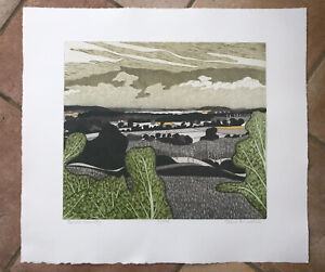 """JOHN BRUNSDON RE 1933-2014 Limited Edition ETCHING """"Border Country"""" ed 20/150"""
