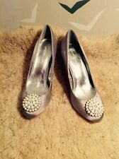 "Party, event MONSOON Silver silk beaded court shoes, 6 1/2, 40 vgc, 3"" heel VGC"
