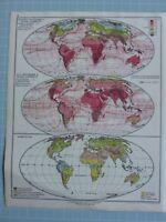 1933 Mapa ~ Mundo Enero & Julio Isotherms Caliente Y Frío Océano Currents