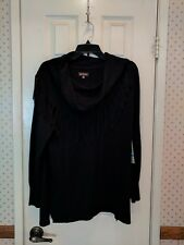 Multiples Women's Black Pullover Cowl Neck Sweater with Fringe Tassel Sz XL NWT