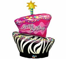"BIRTHDAY BALLOON 41"" BLACK FUNKY CAKE BIRTHDAY PARTY SUPPLIES QUALATEX BALLOON"