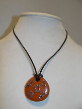 """Carolyn Pollack 20"""" Red Jasper 'Petroglyph' Style Leather Cord Necklace"""