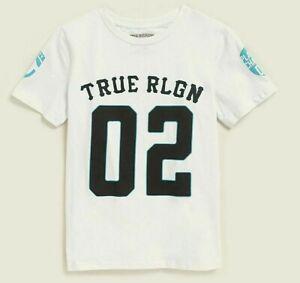 NWT ~ TRUE RELIGION Boys White 02 Patch Short Sleeve Tee Size XL (18-20)  NICE!