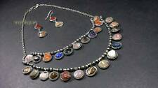 N2010 ETHNIC Vintage gypsy belly dance agate stones Runway NECKLACE set Indian