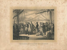 c1850 Napoleon Bonaparte HMS Bellerophon napoleonica Getöner Stahlstich