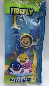 Baby Shark Travel Oral Care Set Toothbrush with Suction Cup, Cap, Flossers + Bag