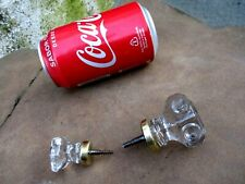 GENUINE ANTIQUE OR VINTAGE TWO GLASS WITH SCREW KNOBS KNOB HANDLE 45 mm / 30 mm