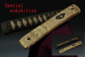 Japan Antiques Edo 2 Shishi Tsuka katana koshirae sword yoroi tsuba samurai Lot