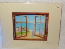 Hand Signed Matted Print- Susan Jump- Beach & Ocean Through Open Window- Usa
