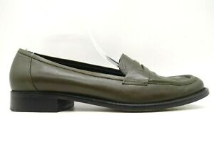 Kenneth Cole NY Loaft A Bread Olive Leather Penny Loafers Shoes Women's 6.5 M