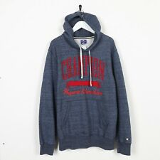 Vintage CHAMPION Big Spell Out Logo Hoodie Sweatshirt Blue XL