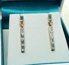 Tone Drop Dangle Earrings Clear Diamante Baguette Cut Gold