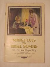 Original Vintage 1930 'Shortcuts to Home Sewing' Singer Co. Sewing Booklet *