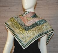 """Glentex Scarf Made in Italy Green Floral Pink Flower 100% Polyester 26.5"""" x 27"""""""