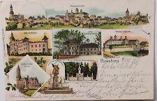 26972 Litho AK Gruß aus Bensberg bei Köln Schloss Kirche Krieger Denkmal Ort1898