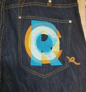 Vintage ROCAWEAR Denim jeans Embroidered back pocket *R* Mens size 44 big boi