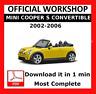 >> OFFICIAL WORKSHOP Manual Service Repair Mini Cooper S Convertible 2002 - 2006