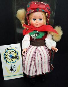 """Svensk Folkdrakt Sweden Folk Doll Handmade Costume Blinking Eyes Vtg 6"""" Baby"""