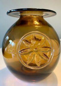Dartington Crystal Clematis vase in Amber