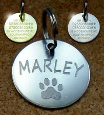 NEW Engraved Pet Tags PAW ID Disc Collar Tag Cat Dog Metal Brass Silver Nickel