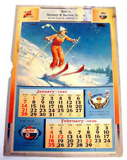 Vintage 1940 Texaco Wall Calendar Oil Gas Fire Sky Chief Service Station