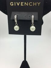 $35 Givenchy Imitation Pearl & Pave Hoop   drop earrings 725A