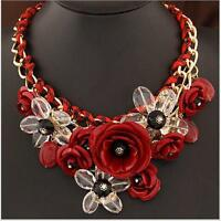 Statement Flower Necklace Gemstone Choker Chunky Collar Pendant Fashion Jewelry