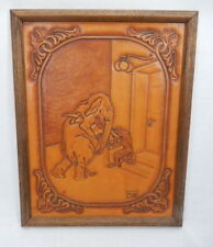 1988 Framed Tooled Leather Art Elephant and Chimp Pawning Tusk Tail Evan Der