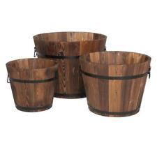 Rustic Whiskey Barrel Planter Pot Wooden Large Garden Patio Outdoor Flower Plant