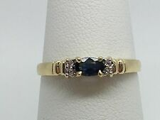 14K YELLOW GOLD GENUINE SAPPHIRE AND DIAMOND RING SIZE 7.25
