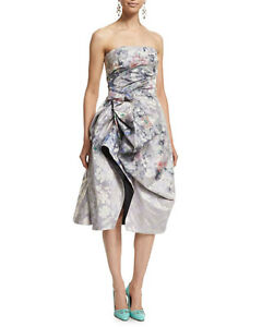 NEW Oscar de la Renta Strapless Floral Print Cocktail Dress Pale Lilac 4 6