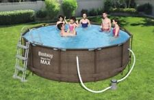 RATTAN SWIMMING POOL 366 cm 12FT Garden Round Above Ground Pool with PUMP SET