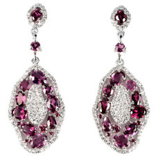 Sterling Silver 925 Big Natural Rhodolite Garnet & Lab Diamond Earrings