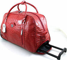 WOMENS LYDC LUGGAGE MOCK CROC WHEELED TRAVEL HOLDALL CABIN TROLLEY CASE BAG RED