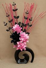 HANDMADE ARTIFICIAL SILK LIGHT PINK & BLACK FLOWERS, BLACK FOSSIL VASE (WEDDING)