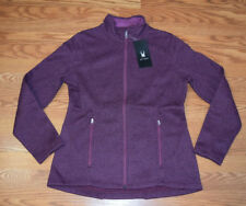 NWT Womens SPYDER Purple Plum Fleece Lined Full Zip Knit Jacket Coat Sz Large L