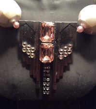 "Vintage Unsigned ""Ermani Bulatti"" Old Silver Deco Design Beaded Necklace - Pink"