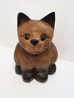 Katze Minka aus Holz braun Arkazie Handarbeit Deko Skulptur Tierfigur Geschenk