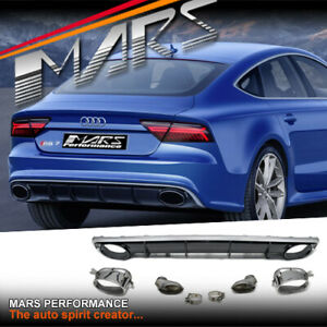 RS7 Style Bumper bar Diffuser & Exhaust Tips for AUDI A7 S7 4G MY15-MY18 Bodykit
