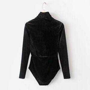 Women V Neck Bodysuit Wrap Top Velvet Leotard Catsuit Blouse T-shirt Long Sleeve