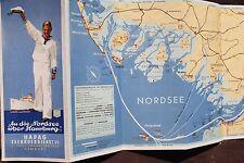 28072 Prospekt An die Nordsee über Hamburg HAPAG Seebäderdienst mit Karte um1936