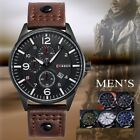 Men's Military Army Date Sport Brown Leather Strap Analog Quartz Man Wrist Watch