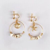 Circle Earring Gold Alloy Metal Shell Sterfhish Dangle Earrings For Women Lady