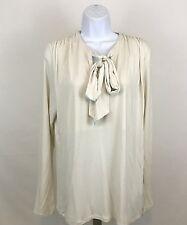 CABI #178 Femme Oyster Ivory Tie Beige Long Sleeve Knit Shirt Top Size XL