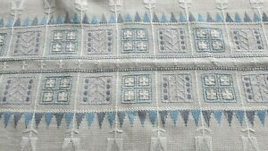 Vintage cotton tablecloth with long stitch embroidery from Sweden