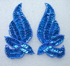 Lr135-5 Sequin Applique Mirror Wings Leaves Royal Blue