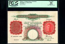 Malaya:P-15,100 Dollars 1942 * King George VI * PCGS VF 35 *