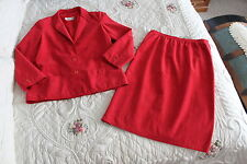 """""""Ultra Suede Brand"""" WOMENS 10 Red Dress Suit, Skirt & Blazer Jacket GORGEOUS!"""