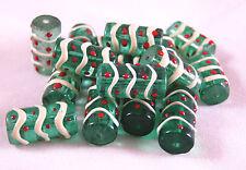10 pcs Green Tabular Swirly Glass Beads 20mmx 10mm New